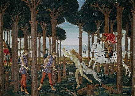 Botticelli, Sandro: The Story of Nastagio degli Onesti I. Fine Art Print/Poster. Sizes: A4/A3/A2/A1 (001887)
